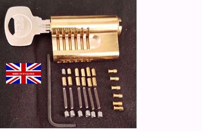 Picture of LEFT HANDED Cutaway YALE Euro Cylinder with 6 Extra Pins